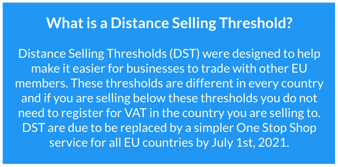 Distance selling thresholds