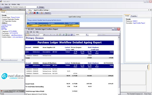 Aged Creditor Reporting - Report to Screen