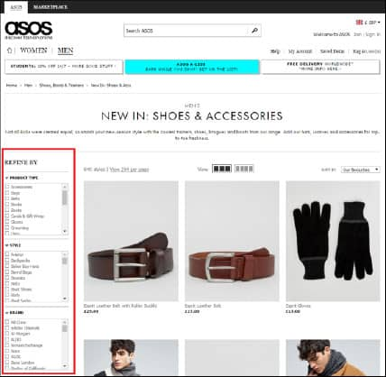 ASOS side bar menu